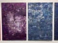 """Susan Newmark, <em>Mindful Practice</em>, 2017, wall piece in 5 parts, acrylic and glitter on wood, 22 x 89"""""""