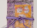 "17. Tied Up in Nots: Book I, accordion binding, acrylic paint, collage, pen, twine, cover 11 1/2 x 7 1/4"", 2008."