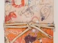 18. Tied Up in Nots: Book I ,accordion binding, collage,acrylic paint, twine, covee 11 1/2 x 7 1/4