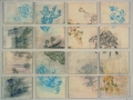 """27. Roses: Wall Pages Piece, paper on wood panels based on pages of the book, 39 x 51"""", 2003."""