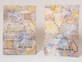 """3. Gall Stoned/Rolling Stones:Books I and II,  front covers, unique books,accordion binding,acrylic paint,collage,plastic, crayon,ink, 11 x 7""""each,"""